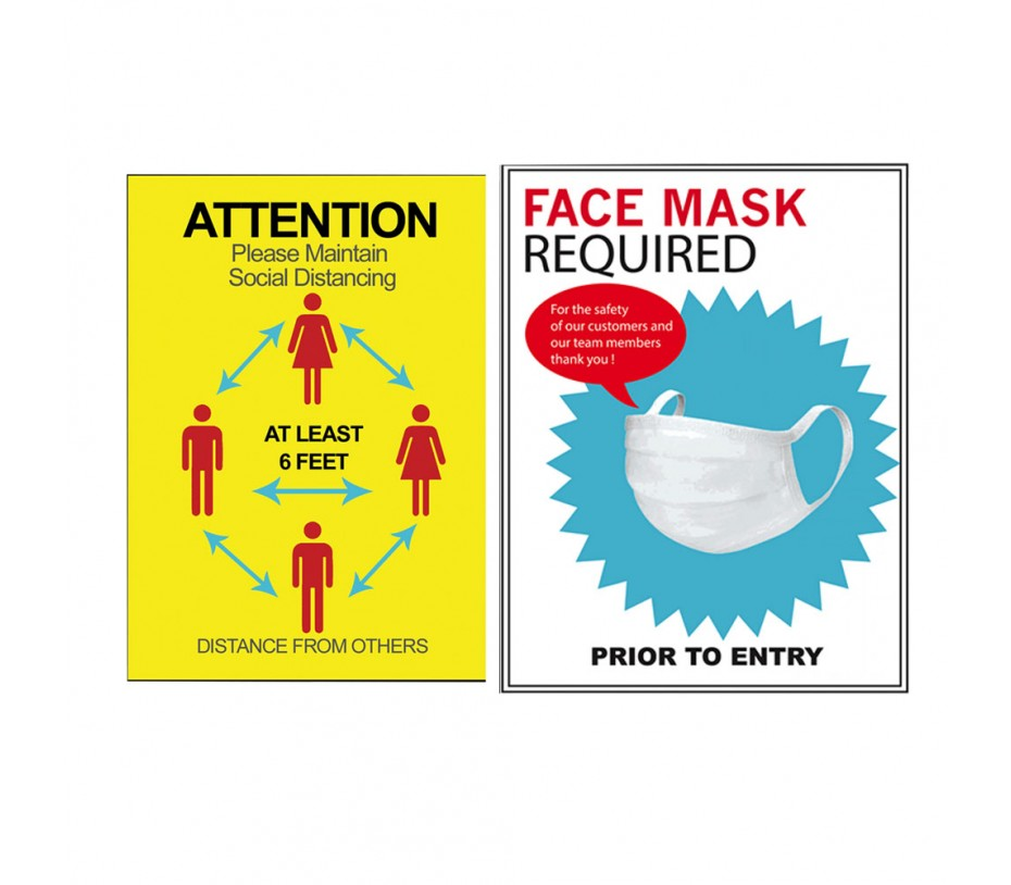 Covid-19 Mask required paper Sign Poster x 10pcs