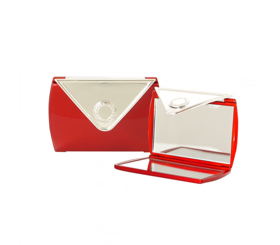 Envelope Shaped Mirror Compact (Red)