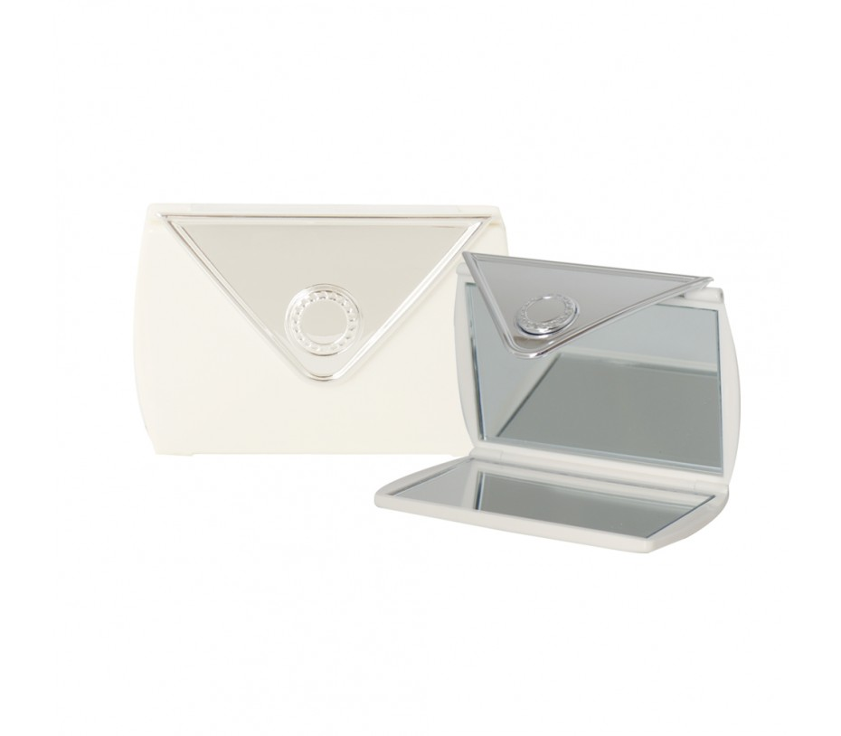 Envelope Shaped Mirror Compact (White)