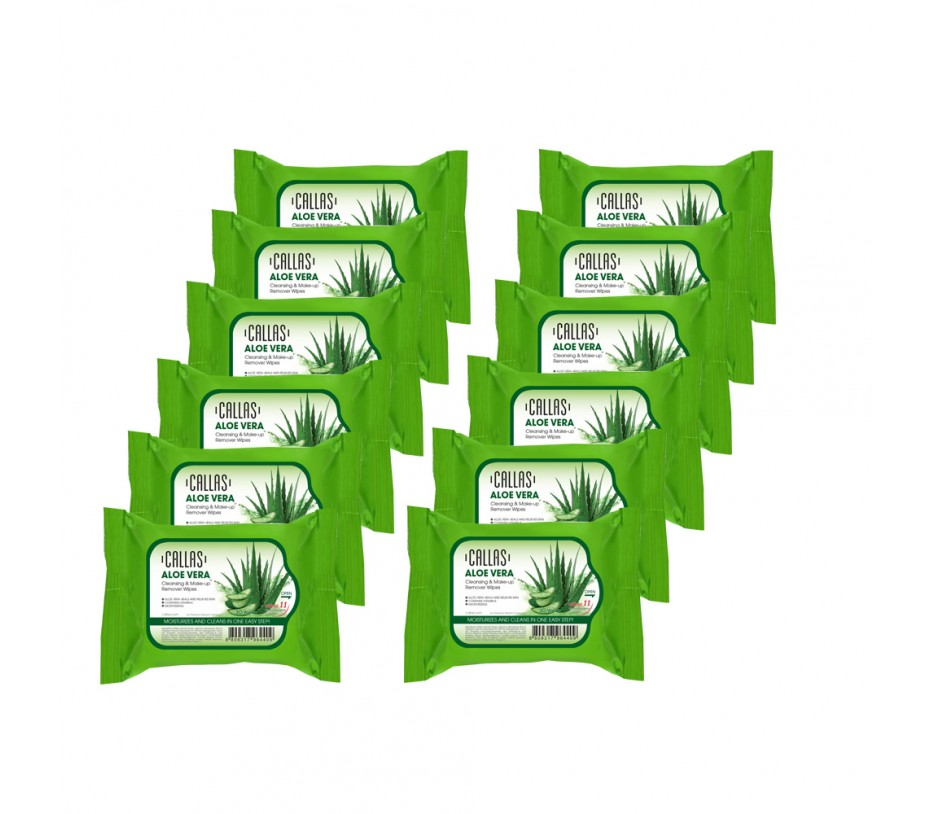 Callas Aloe Vera Cleansing & Make up Remover Wipes *New* x (12 Pack)