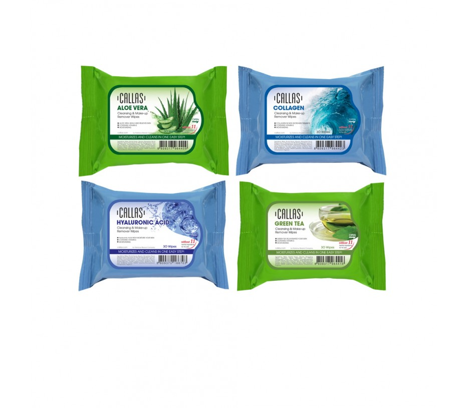 Callas Cleansing & Make up Remover 30 Wipes *New* 4 Kinds