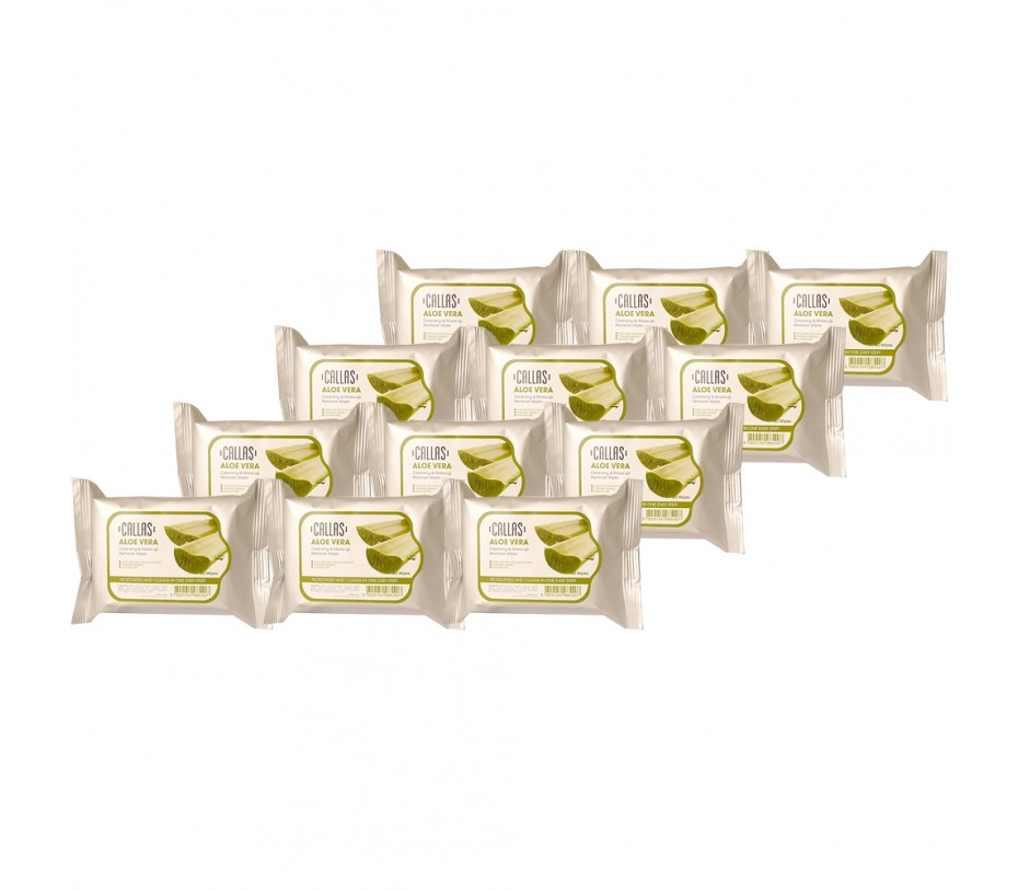 Callas Cleansing & Make-up Remover Wipes 30 Wipes (Aloe Vera, 12pcs)