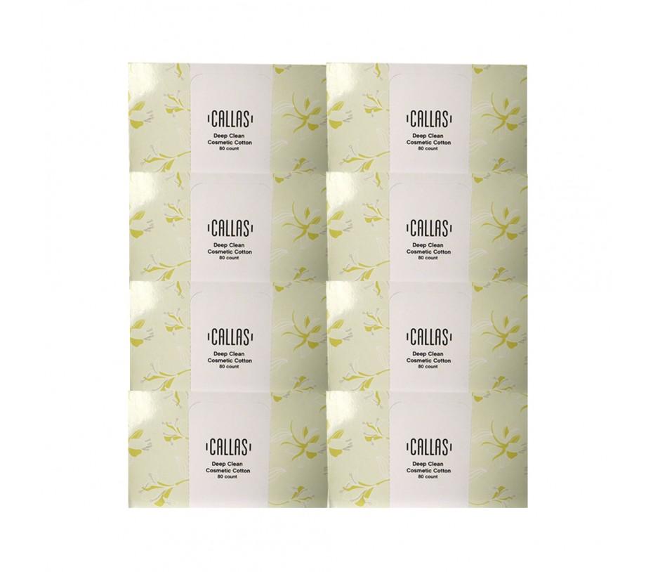 Callas Deep Clean Cosmetic Cotton (80 pcs x 8 boxes=640 pcs)