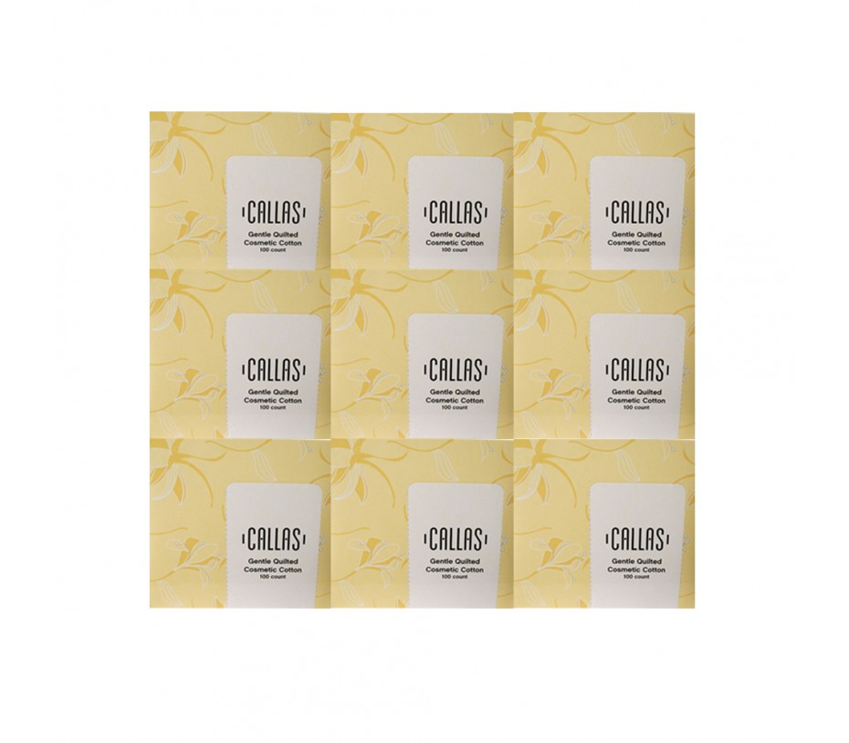 Callas Gentle Quilted Cosmetic Cotton (100 pcs x 9 boxes = 900 pcs)