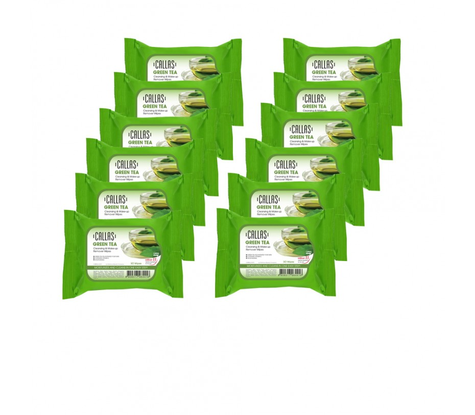 Callas Green Tea Cleansing & Make up Remover Wipes *New* x (12 Pack)