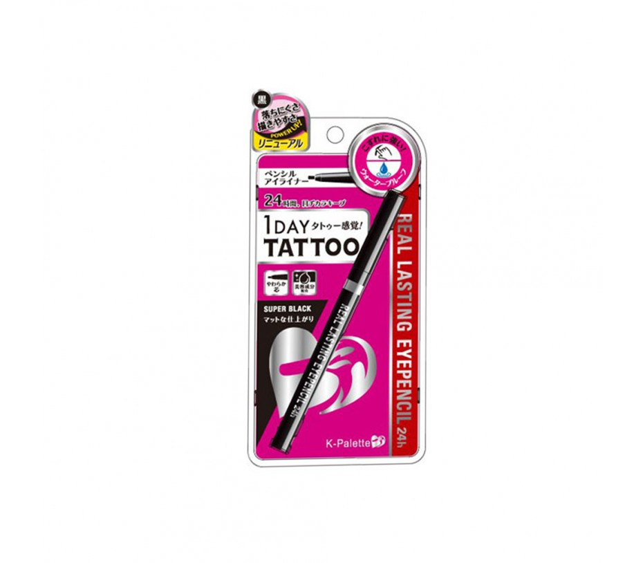 Cuore K-Palette 1 Day Tattoo Real Lasting Eyepencil 24H (SB01 Super Black)