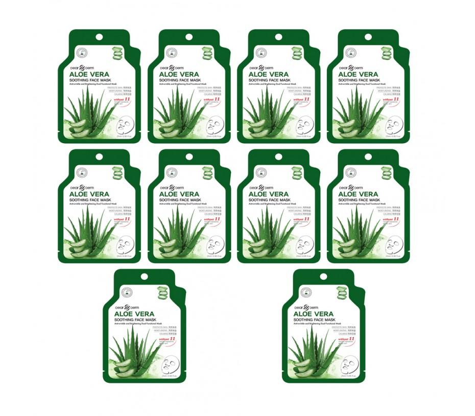 Dearderm Aloe Vera Soothing Mask ( 10 sheets) 0.85fl.oz/25.1ml