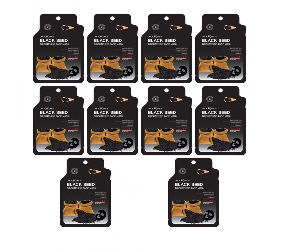 Dearderm BLACK SEED BRIGHTING FACE MASK (10 pcs) 0.85fl.oz/25.1ml
