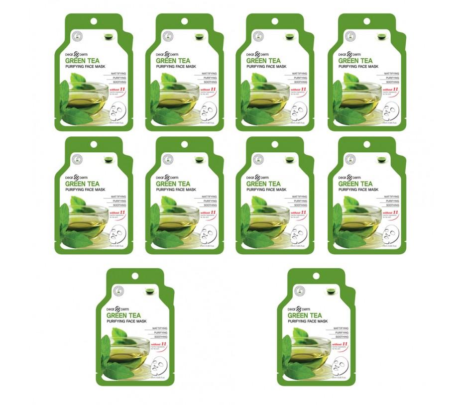 Dearderm Green Tea Purifying Mask (10pcs)