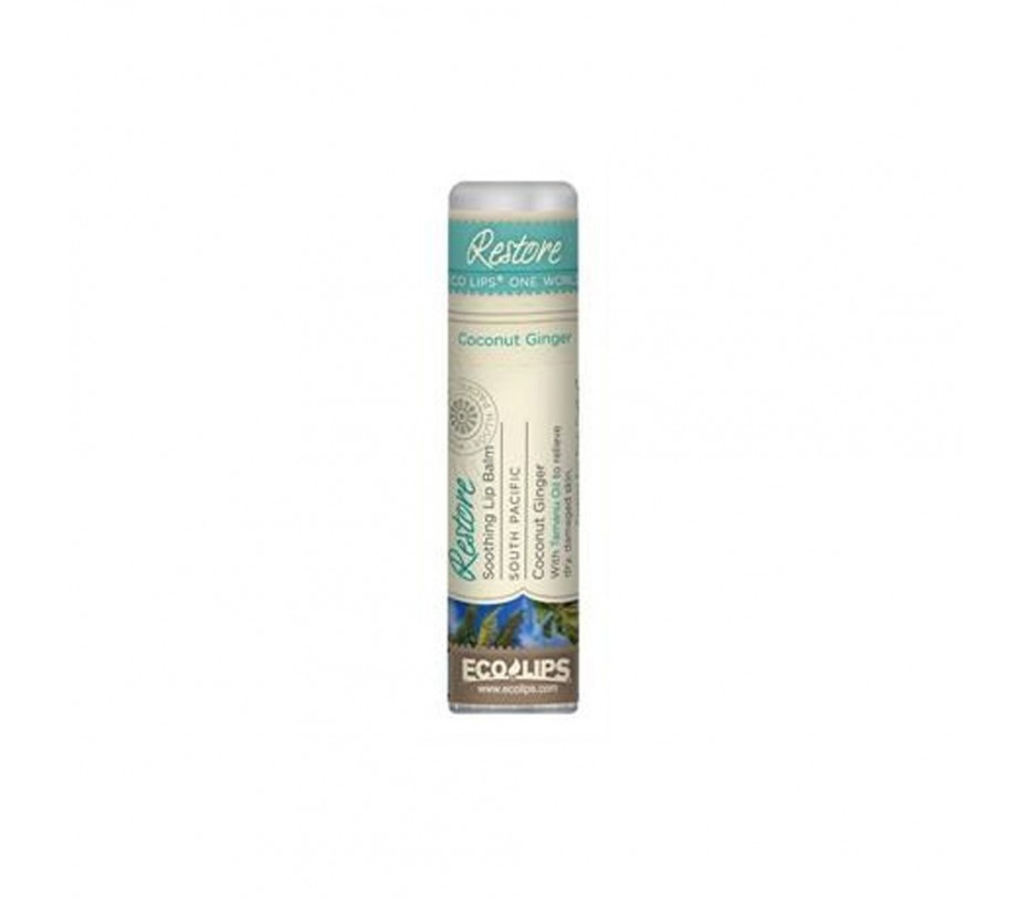 Eco Lips One World Restore Soothing Lip balm South Pacific Coconut Ginger 0.25oz/7.1g