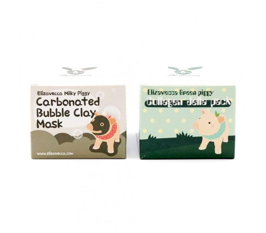 Elizavecca Green Piggy Collagen Jella Pack + Milky Piggy Bubble Clay Mask