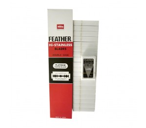 Feather Hi-Stainless Blades Double Edge (20 Packets x 5 Blades)