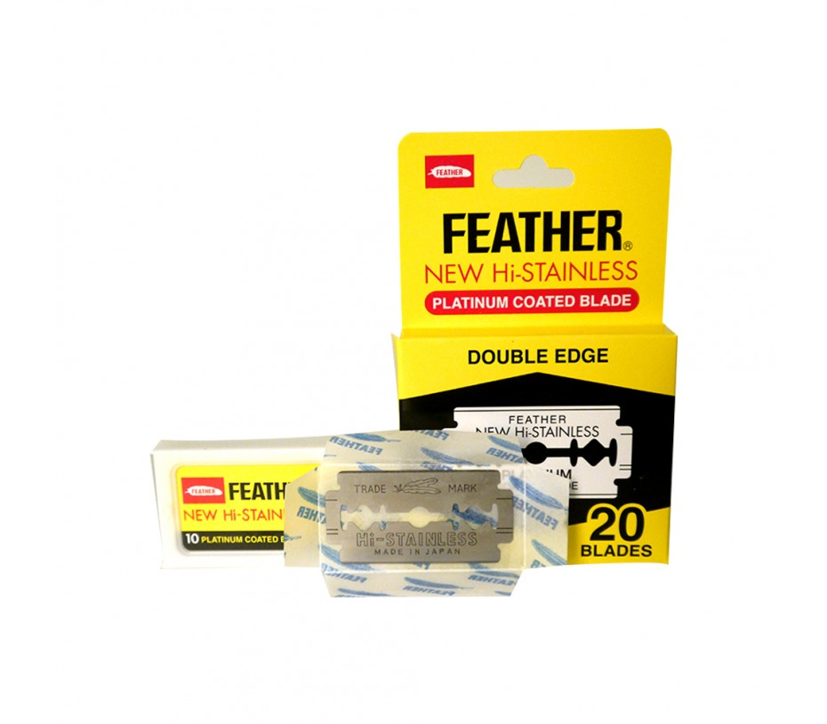 Feather New Hi-Stainless Platinum Coated Double Edge Blade (1 Pack x 20 Blades)