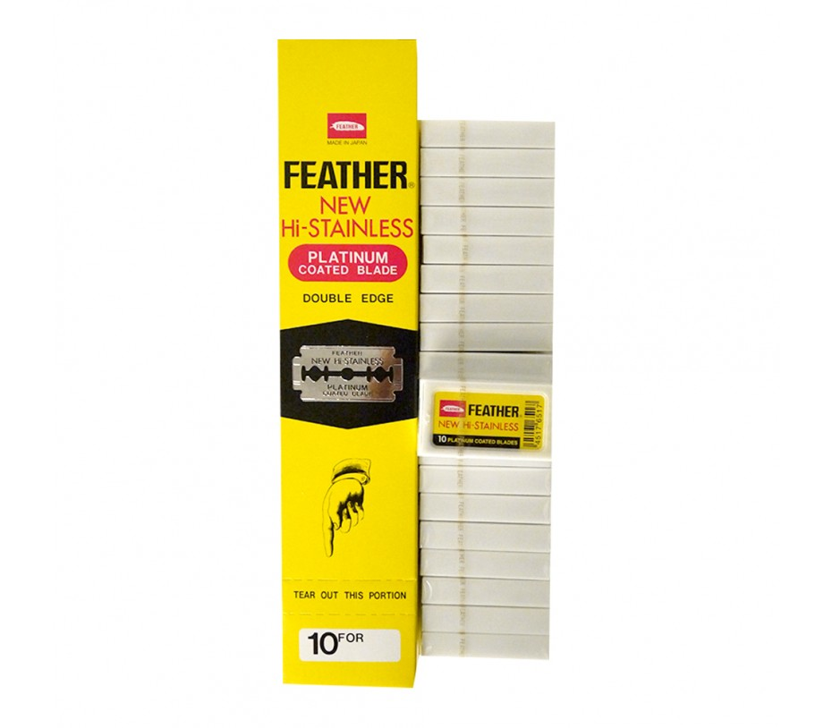 Feather New Hi-Stainless Platinum Coated Double Edge Blade (20 Packets x 10 Blades)