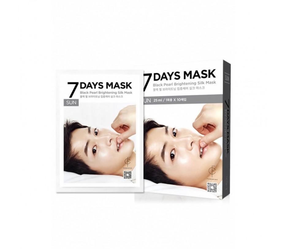 Forencos 7 Days Mask Sunday Black Pearl Brightening Silk Mask (10 Sheets) 0.84fl.oz/25ml