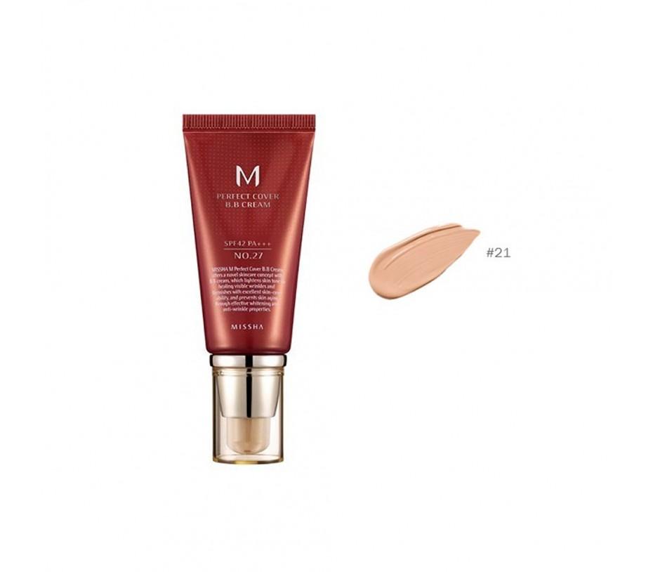 Missha M Perfect Cover  BB Cream SPF 42 PA+++ (No.21 Light Beige) 1.69oz/48g
