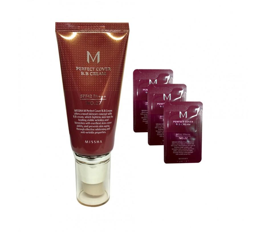 Missha M Perfect Cover  BB Cream SPF 42 PA+++ (No.27 Honey Beige) + 3 Samples