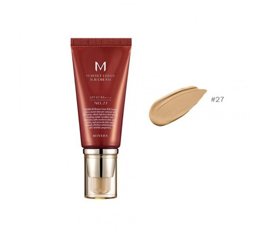 Missha M Perfect Cover  BB Cream SPF 42 PA+++ (No.27 Honey Beige) 1.69oz/48g