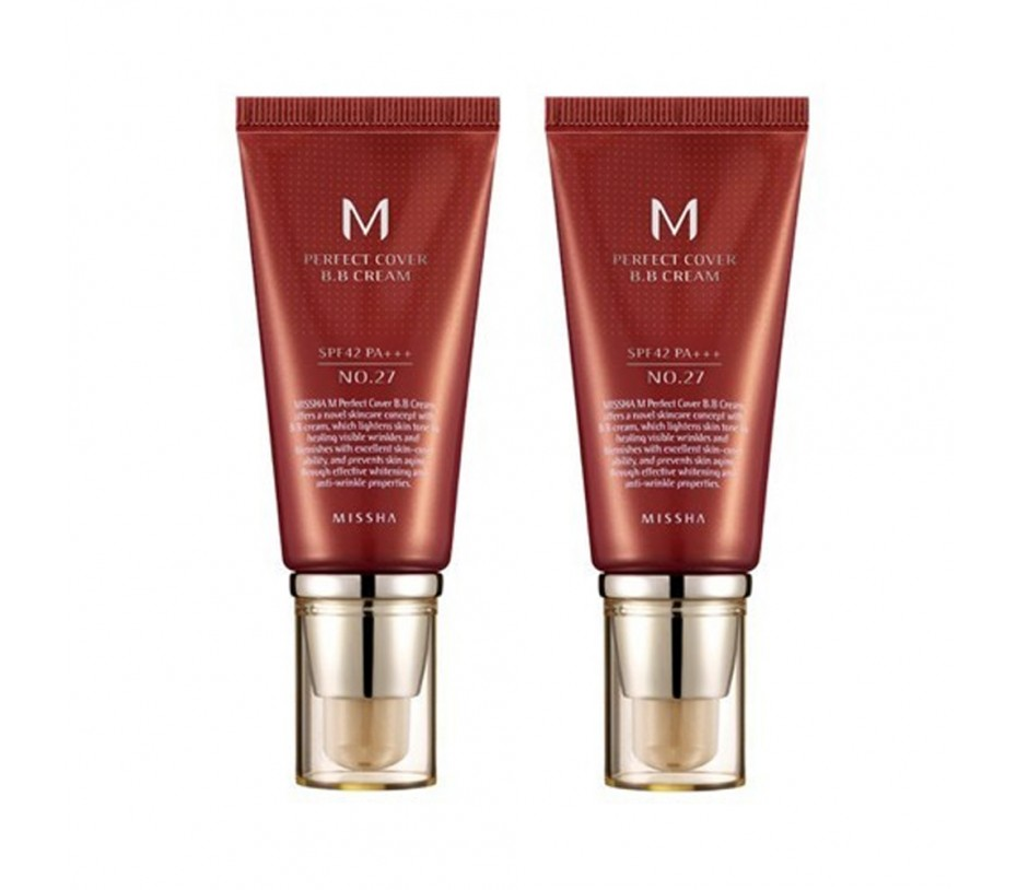 Missha M Perfect Cover SPF 42/PA+++ BB Cream No.27 Honey Beige 50ml (Pack of 2)