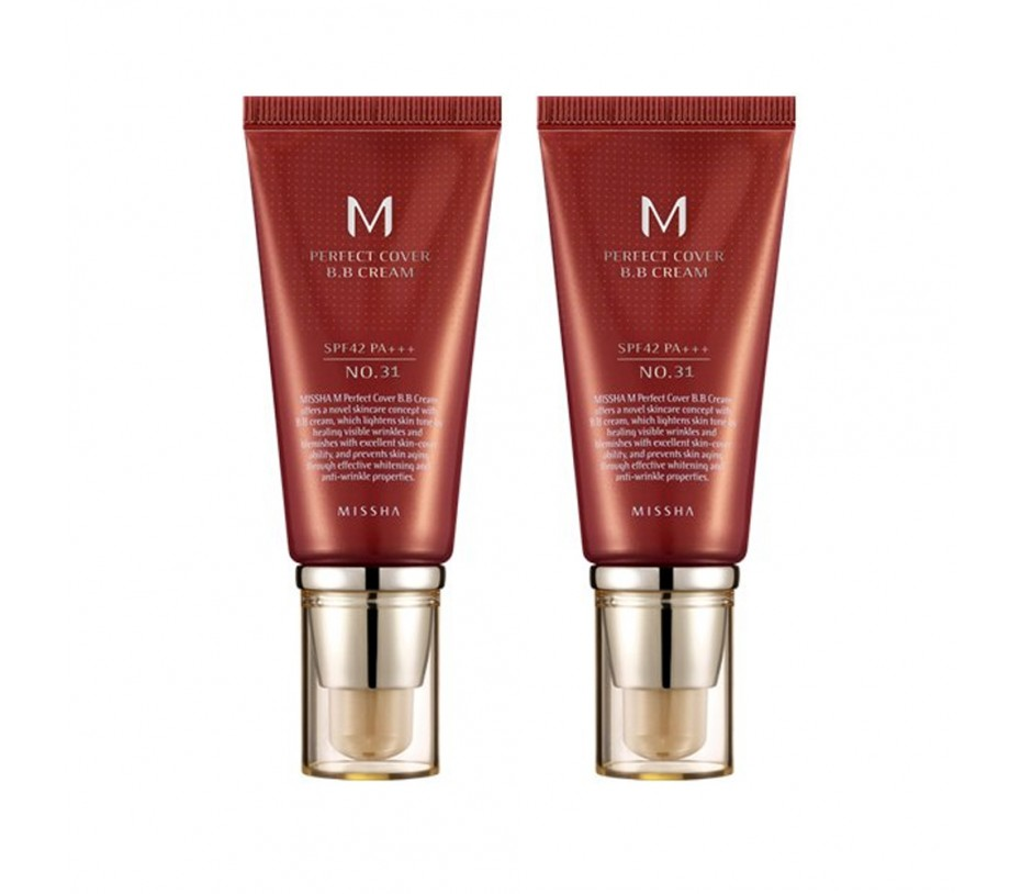 Missha M Perfect Cover SPF 42/PA+++ BB Cream No.31 Golden Beige 50ml (Pack of 2)