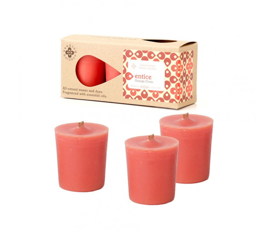 Root Candles Seeking Balance 3Pk Votive Orange Clove - Entice