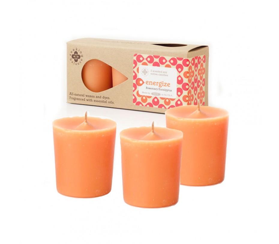 Root Candles Seeking Balance 3Pk Votive Rosemary Eucalyptus - Energize