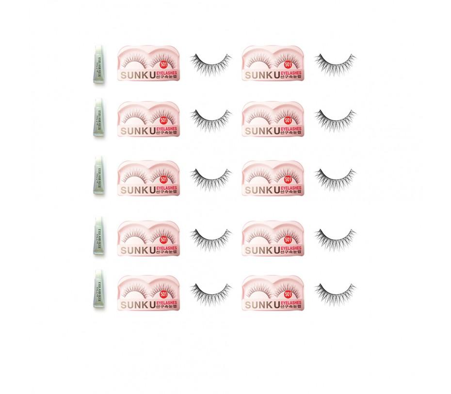 Sunku Eyelash with adhesive (501) 10pcs