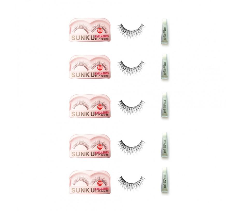 Sunku Eyelash with adhesive (501) 5pcs