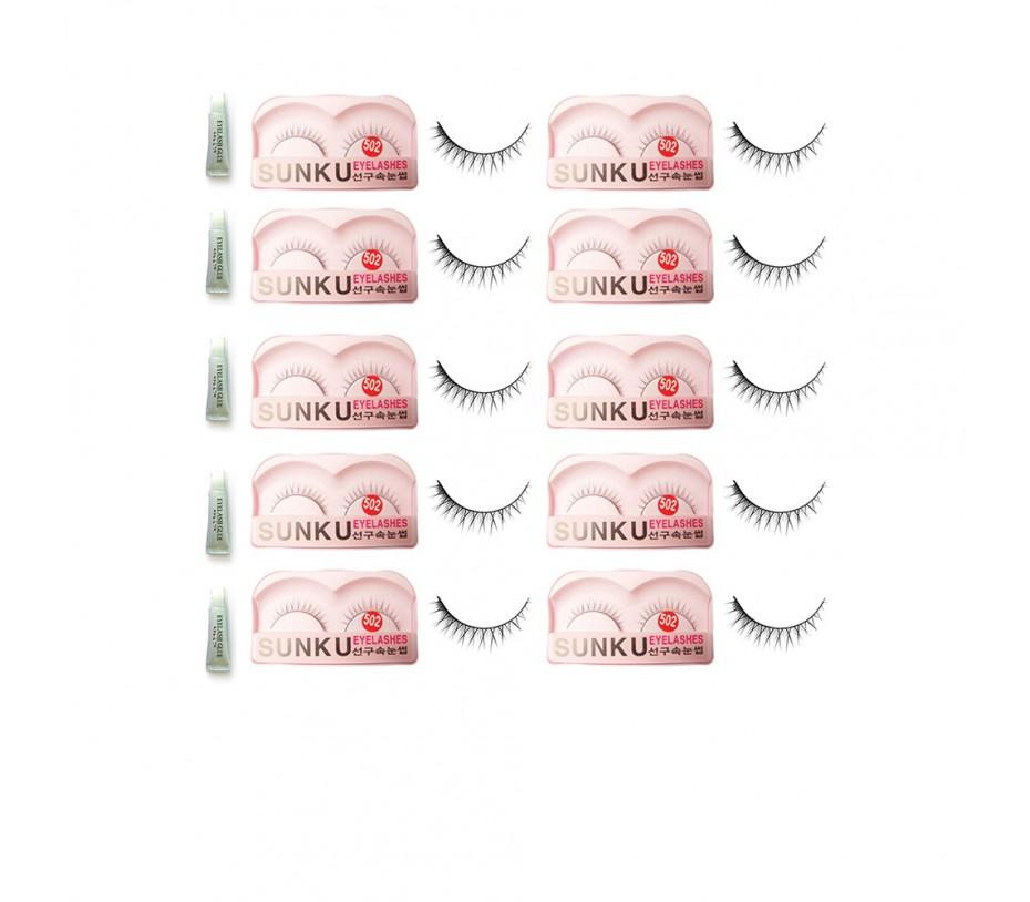 Sunku Eyelash with adhesive (502) 10pcs