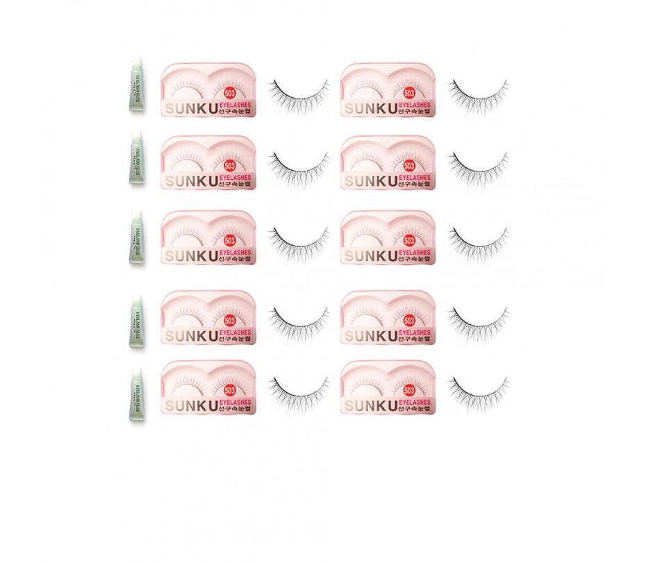 Sunku Eyelash with adhesive (503) 10pcs