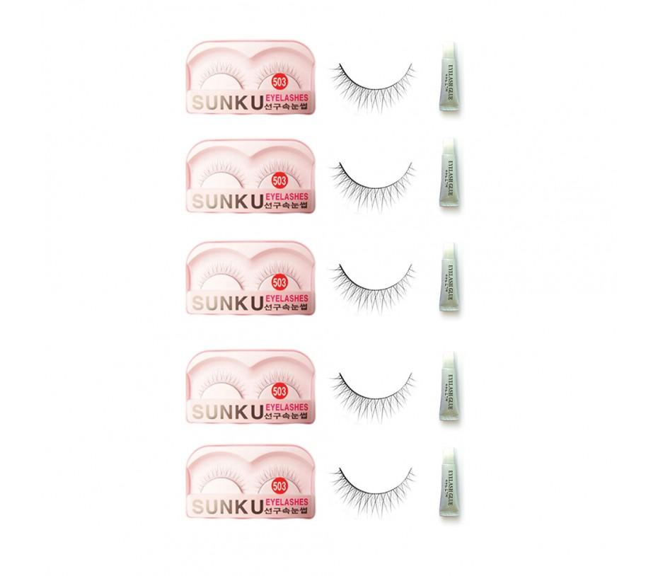 Sunku Eyelash with adhesive (503) 5pcs