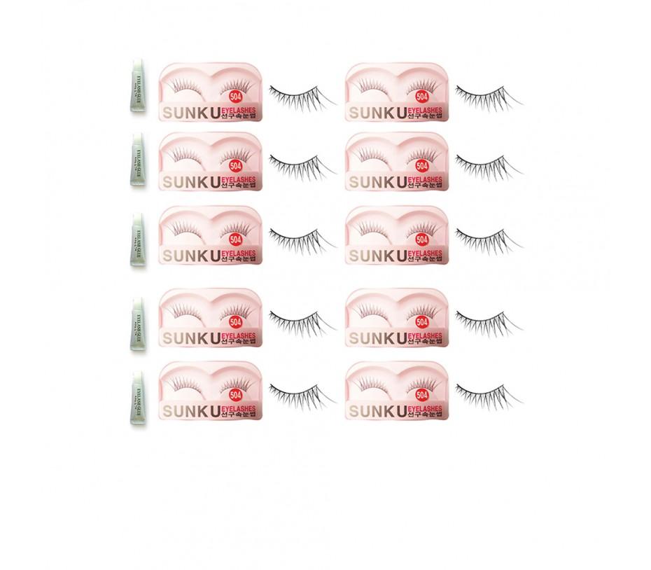 Sunku Eyelash with adhesive (504) 10pcs