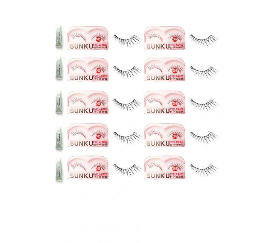 Sunku Eyelash with adhesive (505) 10pcs