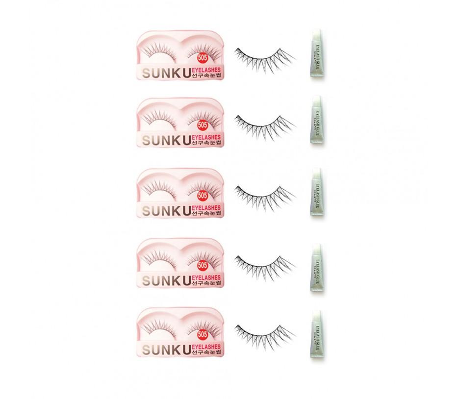 Sunku Eyelash with adhesive (505) 5pcs