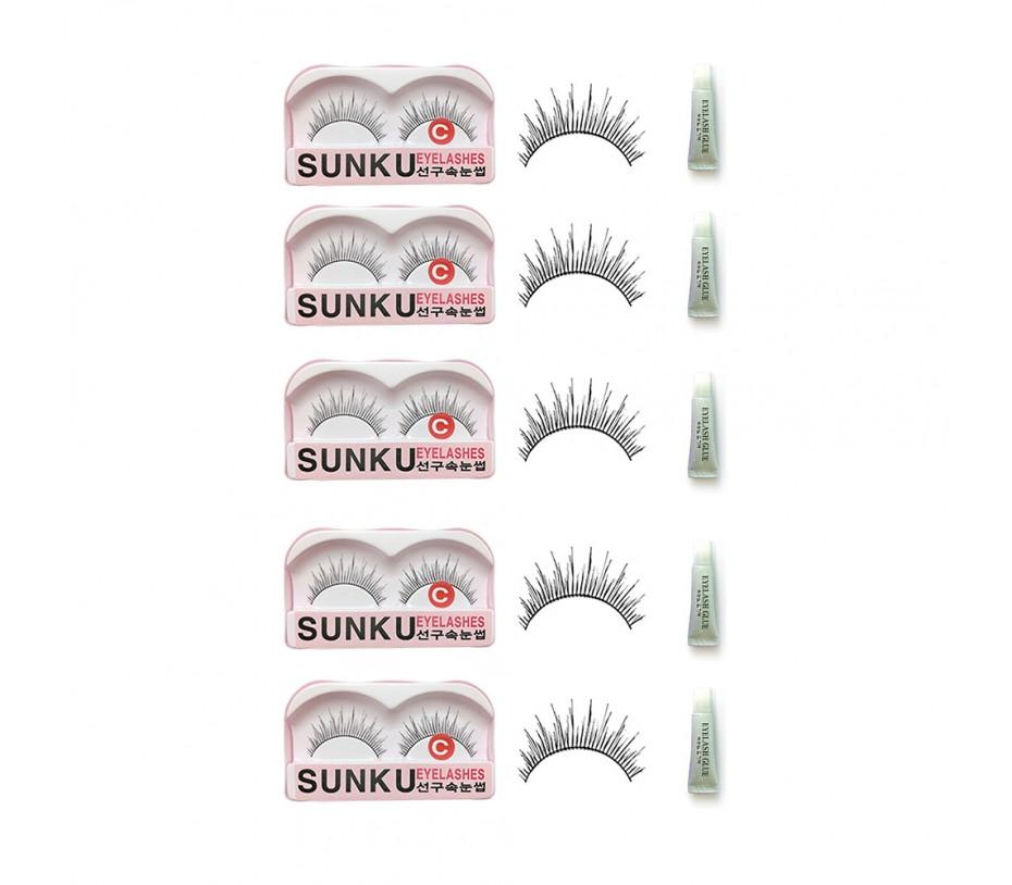 Sunku Eyelash with adhesive (C) 5pcs