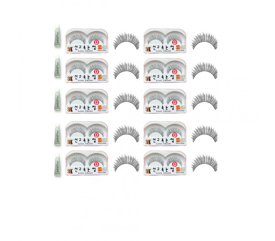 Sunku Eyelash with adhesive (D) 10pcs