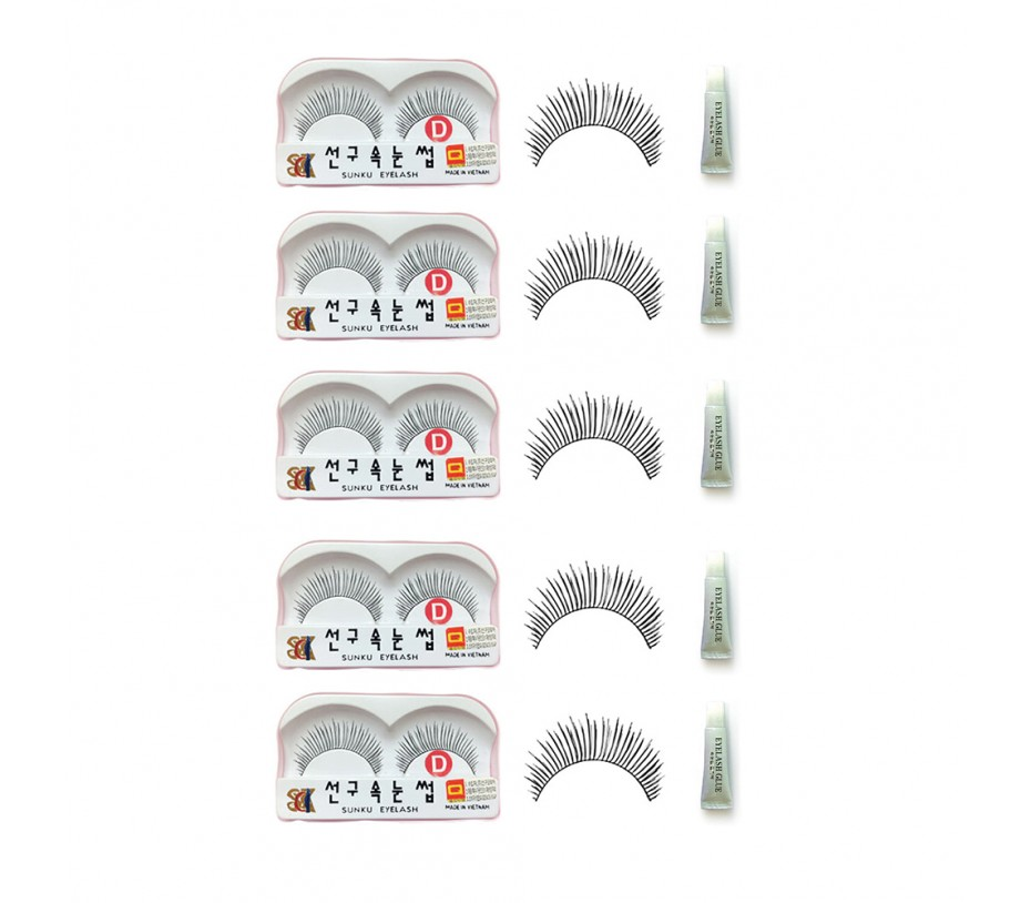 Sunku Eyelash with adhesive (D) 5pcs
