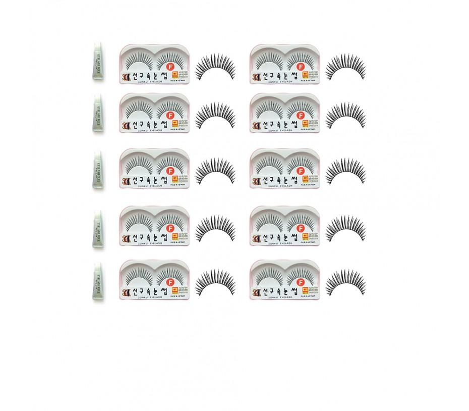 Sunku Eyelash with adhesive (F) 10pcs