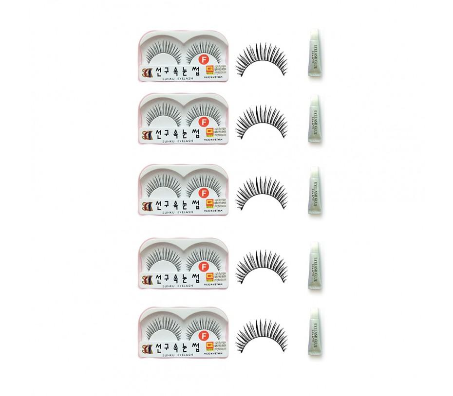 Sunku Eyelash with adhesive (F) 5pcs