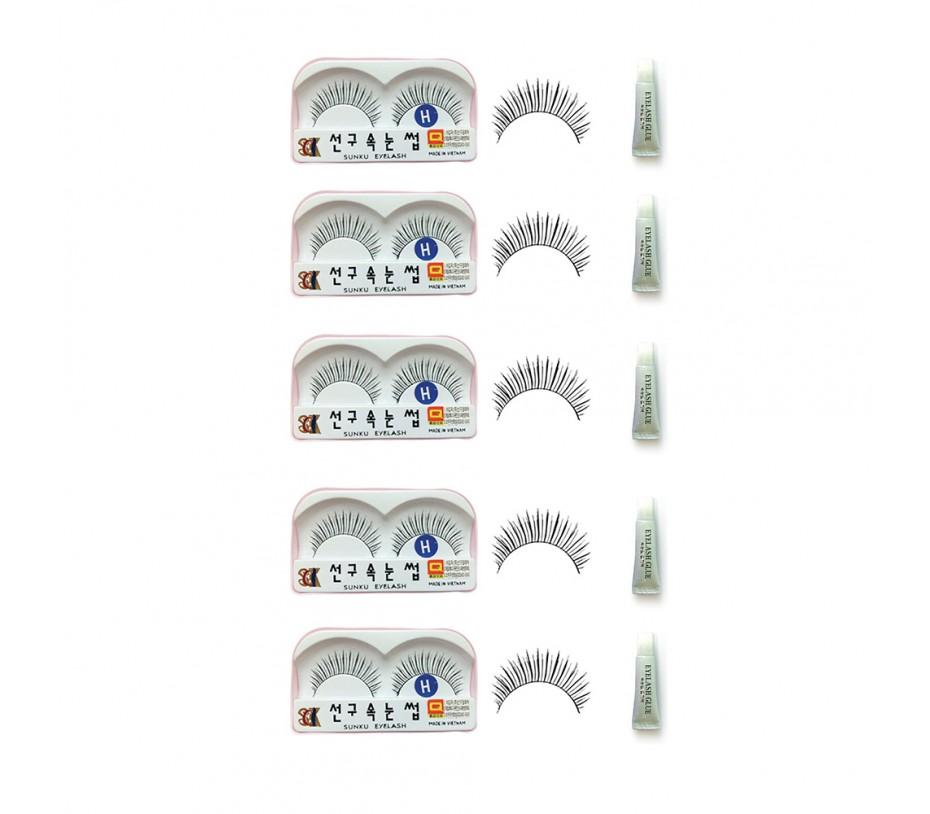 Sunku Eyelash with adhesive (H) 5pcs