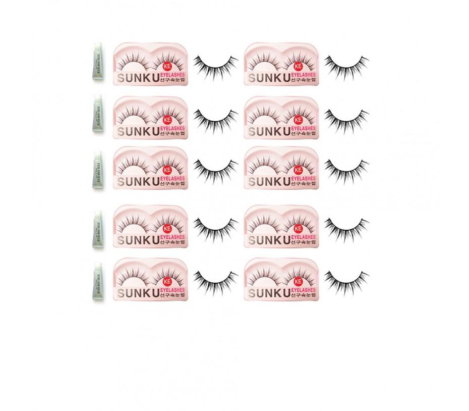 Sunku Eyelash with adhesive (KE) 10pcs