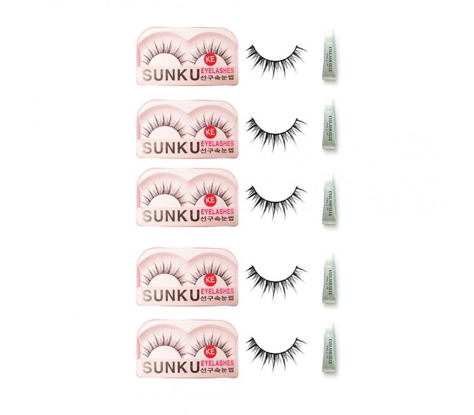 Sunku Eyelash with adhesive (KE) 5pcs