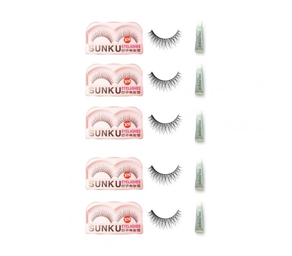 Sunku Eyelash with adhesive (XN) 5pcs