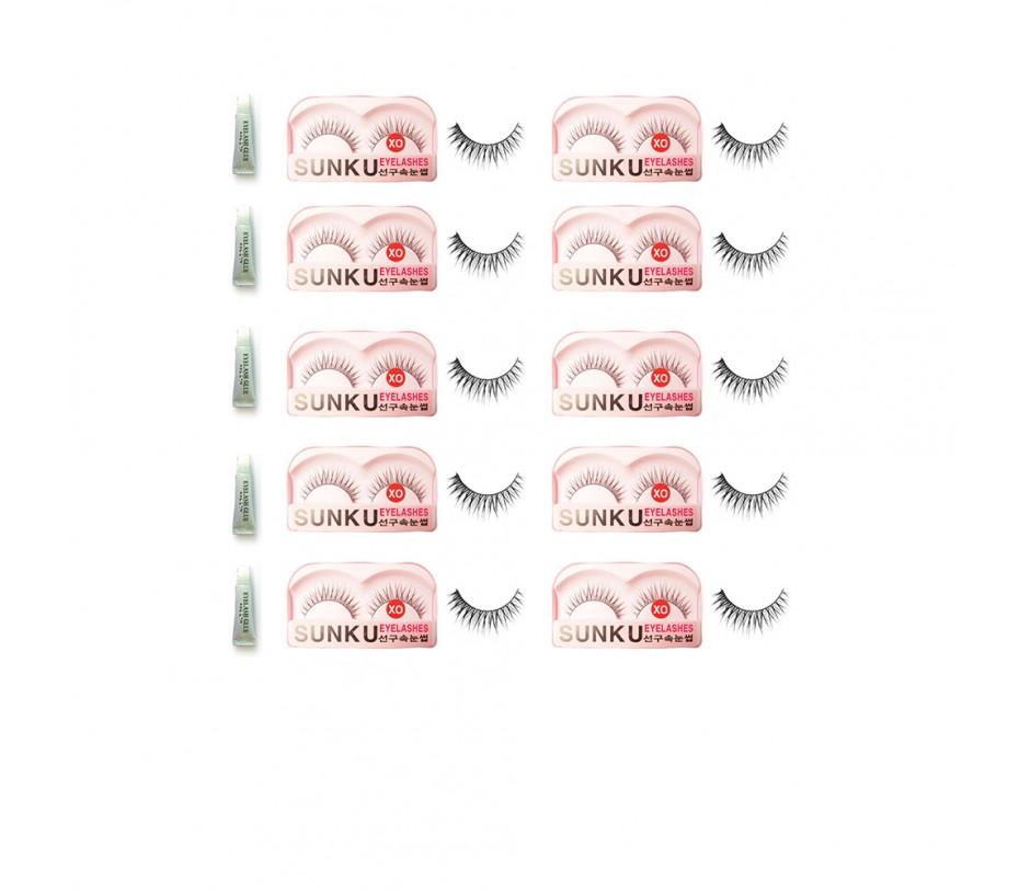 Sunku Eyelash with adhesive (XO) 10pcs
