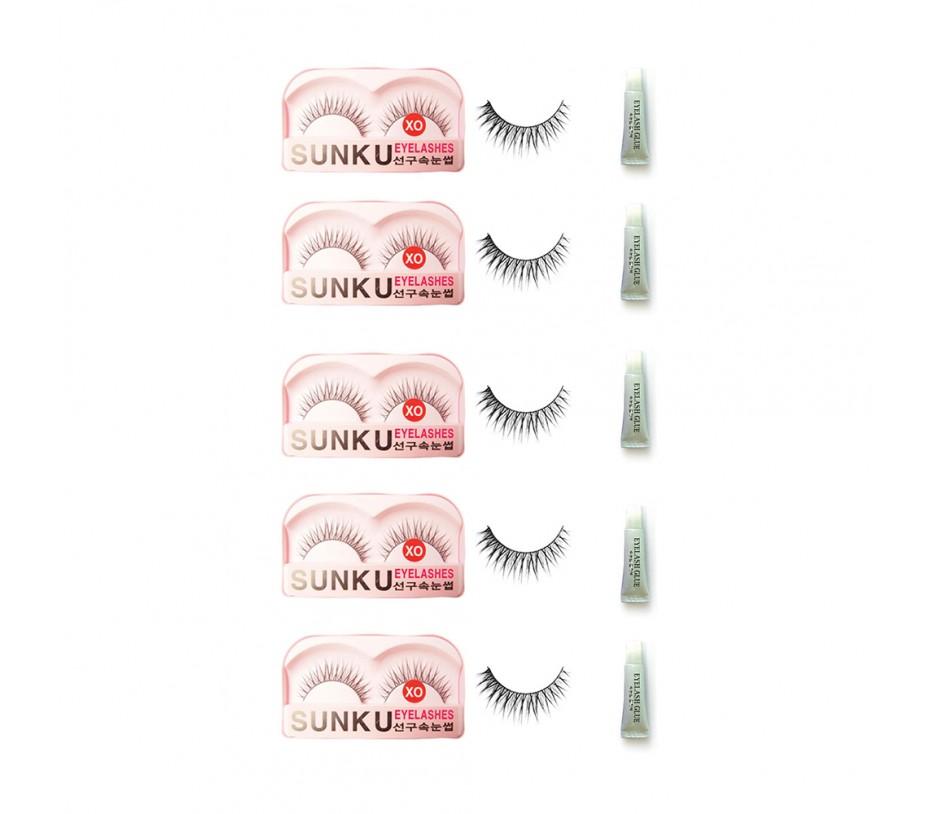 Sunku Eyelash with adhesive (XO) 5pcs