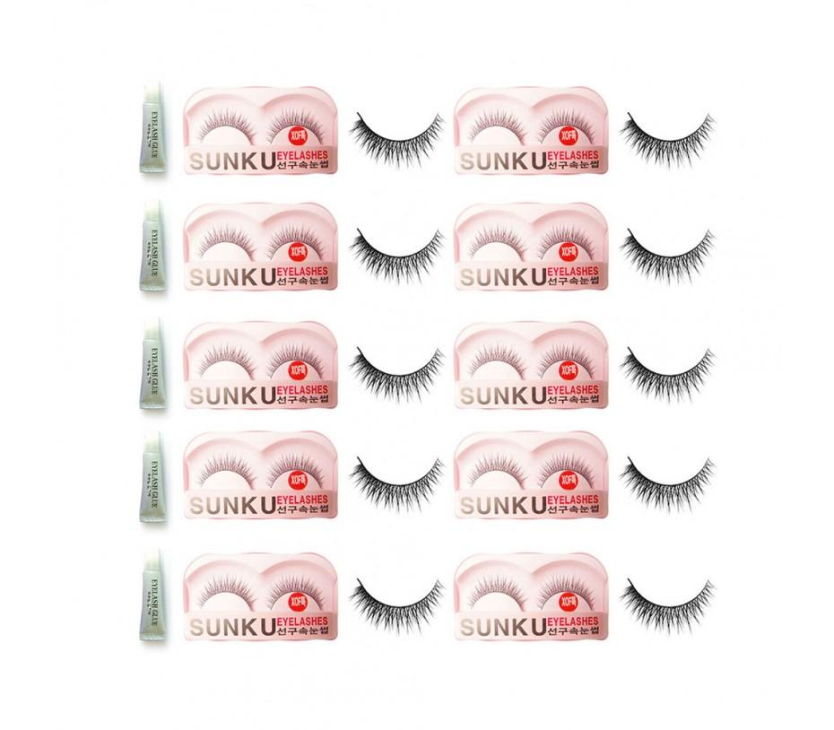 Sunku Eyelash with adhesive (XOFsp) 10pcs