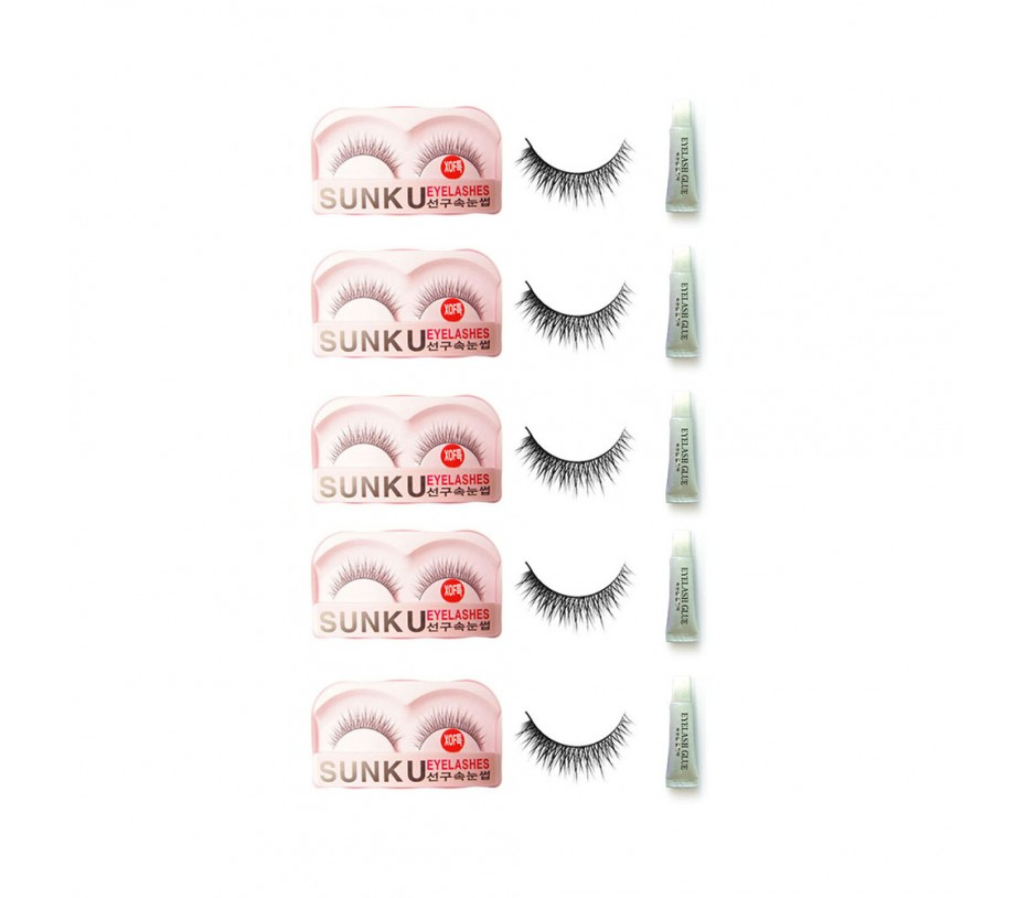 Sunku Eyelash with adhesive (XOFsp) 5pcs