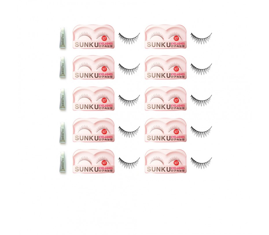 Sunku Eyelash with adhesive (XOT) 10pcs