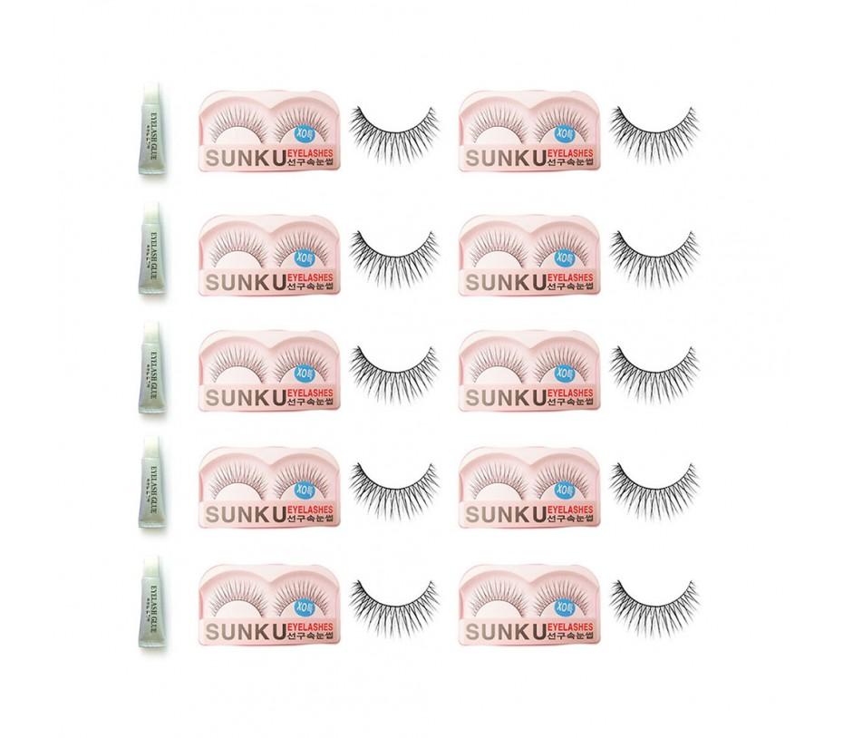 Sunku Eyelash with adhesive (XOsp) 10pcs