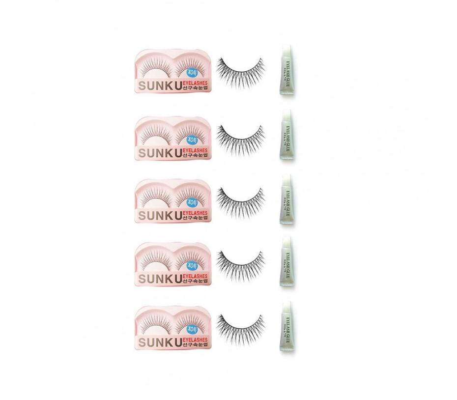 Sunku Eyelash with adhesive (XOsp) 5pcs